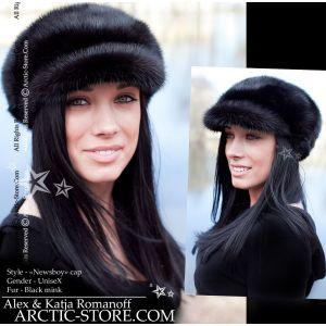newsboy black mink fur cap for women