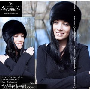 Round full fur hat, mink scanblack