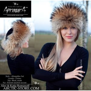 women's roller russian round fur hat leather top finn siberian raccoon