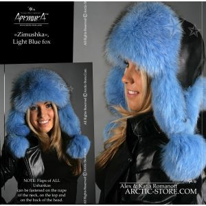 Ushanka russian fur hat, polar fox dyed blue
