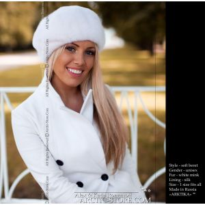 french full fur beret, white mink / arctic-store