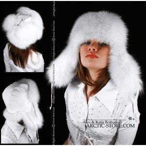 White fox shapka - trapper fur hat - arctic store
