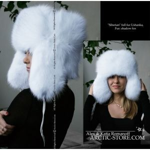 White ushanka for women - Shadow fox fur hat for winter