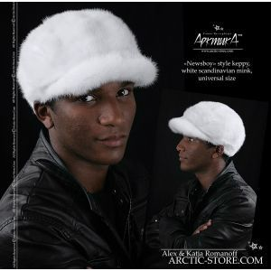 Men's white mink fur newsboy style cap for winter