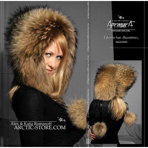 Eskimo fur hat - Russian raccoon hood - arctic store