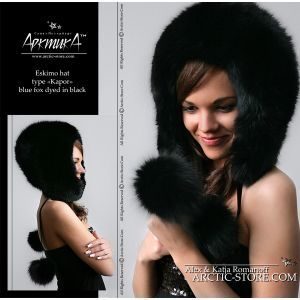 Black fox fur hood with poms for women