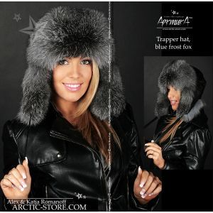 Trapper hat, blue frost fox