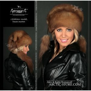 Arlekino full fur russian sable hat, baum marten