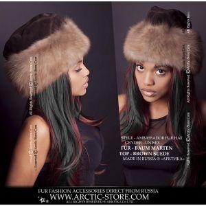 Ambassador marten hat - Beige fur cap - arctic-store