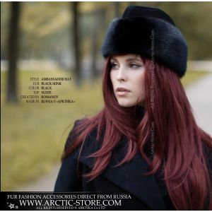 Ambassador black hat - Women's mink fur hat