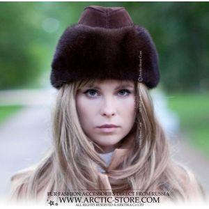 Ambassador fur hat - Mahogany brown mink cap - arctic-store