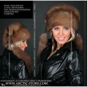 baum marten fur hat with tails