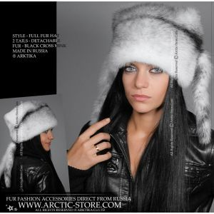 full fur hat in black cross mink with two tails