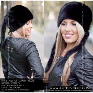 round fur hat in black colour mink