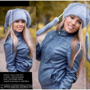 blue mink fur hat with 2 tails