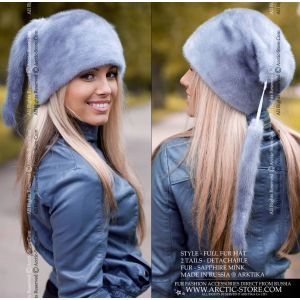 sapphire mink fur hat with tails