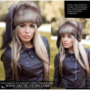 stone marten fur hat - luxury marten furs