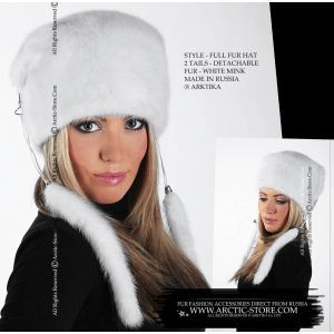 white mink fur hat with tails