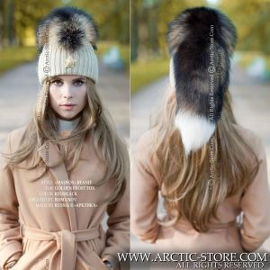 hat with tail - Madfox fur beanie