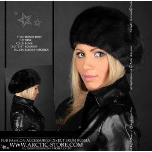 French full fur beret - Scandinavian black mink - women's winter beret