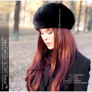 French full fur beret - Scandinavian black mink - women's winter beret