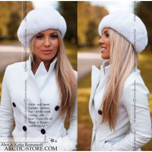 white mink beret - fur headwear for women