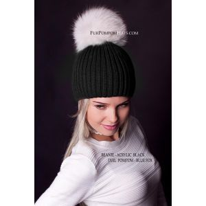 white fox fur pom pom hat - real white fur pompom beanie