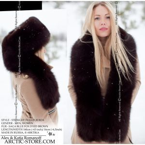 Anakonda full fur boa stole collar, blue polar fox dyed brown arktika arctic store russia
