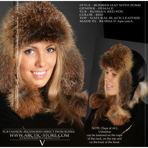 Red fox hat - russian bomber fur cap - arctic-store