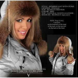 Red fox hat - russian bomber fur cap - arctic-store