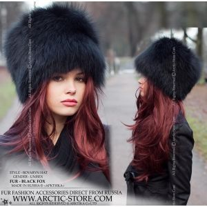 Black fox hat - Women's fur chapka - arctic-store