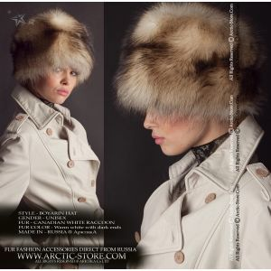 Boyaryn women's fur hat - white canadian raccoon chapka - arctic-store