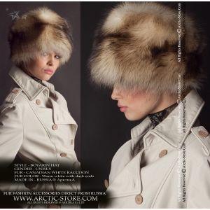 Boyaryn women's fur hat - white canadian raccoon chapka - arctic-store