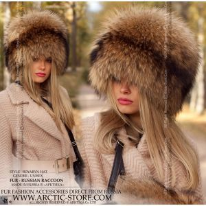 russian raccoon hat - luxe fur hat for women - arctic store