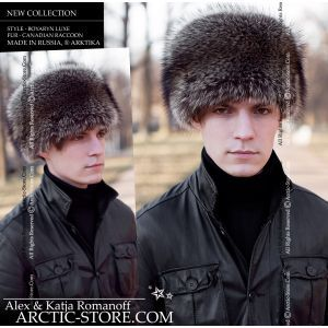 Boyaryn men's fur hat, canadian raccoon