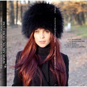 Russian black hat - ladie's fur black raccoon chapka