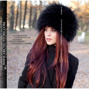 Russian black hat - ladie's fur black raccoon chapka