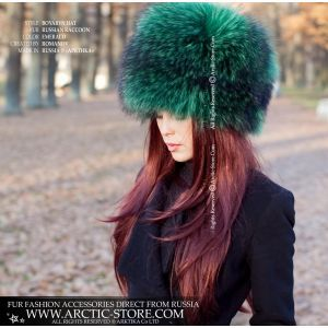 emerald raccoon hat -  fashion fur hat - russian fur store