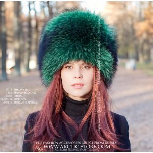 green fur hat - ladie's raccoon chapka