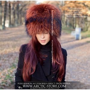 terracotta raccoon hat -  fashion fur hat - russian fur store