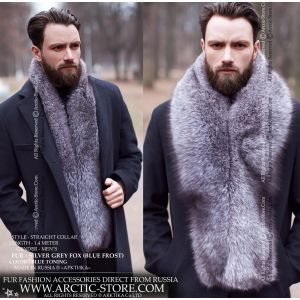 Men's fox stole - blue frost fox long collar - arctic-store