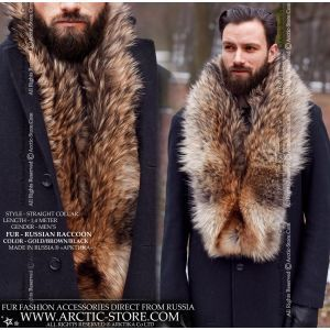 Men's fur stole - Russian raccoon collar - arctic-store