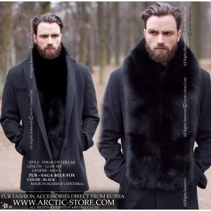 Men's Long Fur Boa - Black Fox Stole - arctic-store