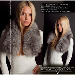 Grey fox collar - fox fur scarf - arctic-store