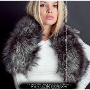 Silver fur boa - women's fox collar / arctic-store