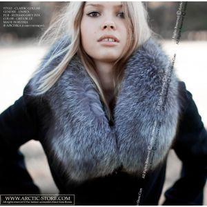 Grey fox collar - fox fur scarf - arctic-store