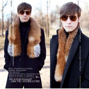collar stole scarf red fox russian cape for men