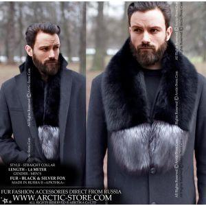 Men's detachable fur stole - black silver fox collar - arctic-store