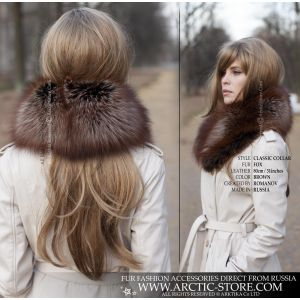 L'or noir fox classic collar - brown fur women stole - arctic-store
