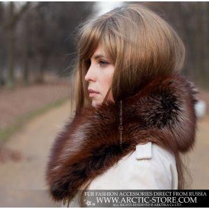 L'or noir fox classic collar - brown fur women stole - arctic-store